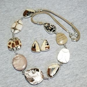 Chico's Animal Print Necklace and Earring Set